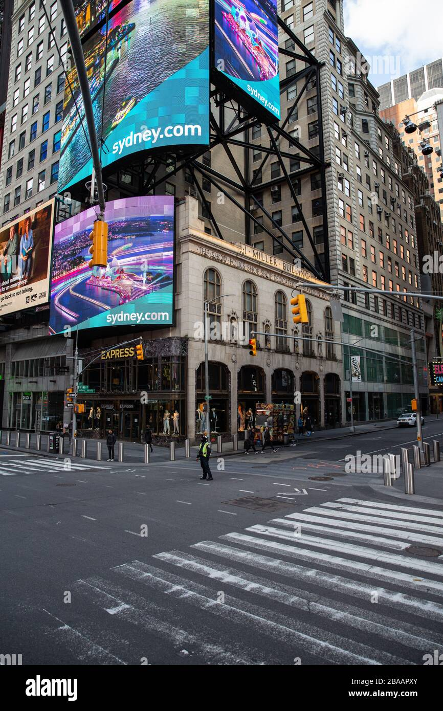 Empty Times Square due to coronavirus COVID-19 outbreak in New York Stock Photo