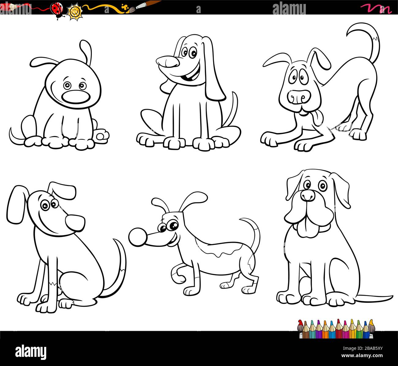Black And White Cartoon Illustration Of Dogs And Puppies Cute Animal Characters Set Coloring Book Page Stock Vector Image Art Alamy