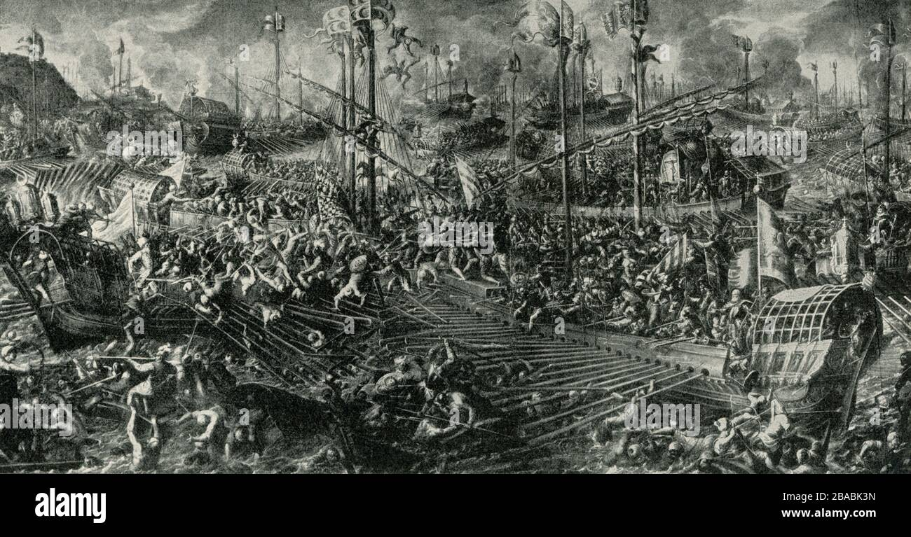 Shown here is a scene of the sea battle at Lepanto. It is from a fresco by Andrea Bicentino that was done in the Ducal (or Doge's)  Palace in Venice. TheBattle of Lepantowas a naval engagement that took place on 7 October 1571 when a fleet of the Holy League, a coalition of European Catholic states arranged by Pope Pius V, inflicted a major defeat on the fleet of the Ottoman Empire in the Gulf of Patras. Andrea Vicentino(c. 1542 – 1617) was an Italian painter of the late-Renaissance or Mannerist period. He was a pupil of the painter Giovanni Battista Maganza. Born in Vicenza, he was also kn Stock Photo