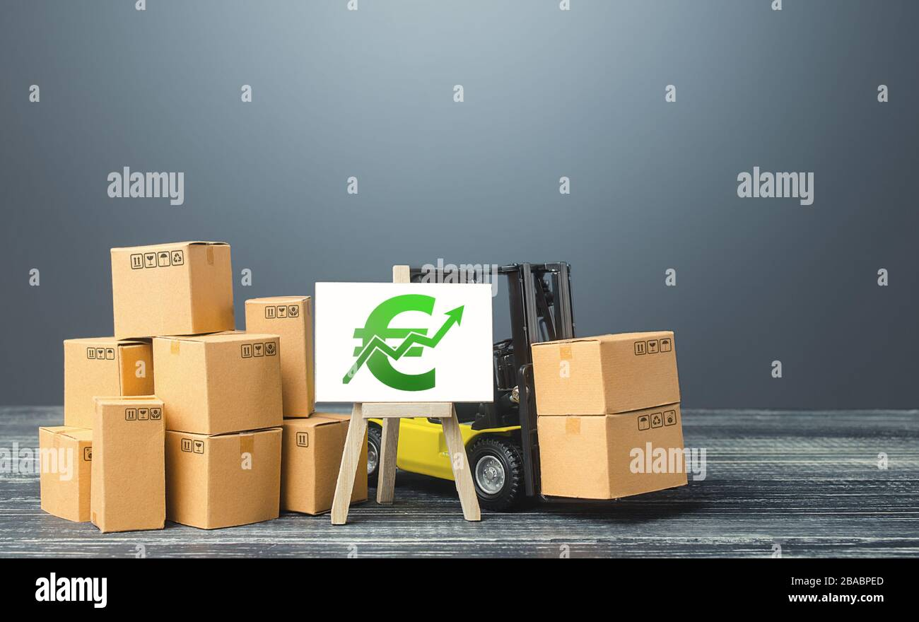 Forklift near boxes and easel with green euro positive trend growth chart. Rise rade production rates sales. Economic rise and recovery. Price increas Stock Photo