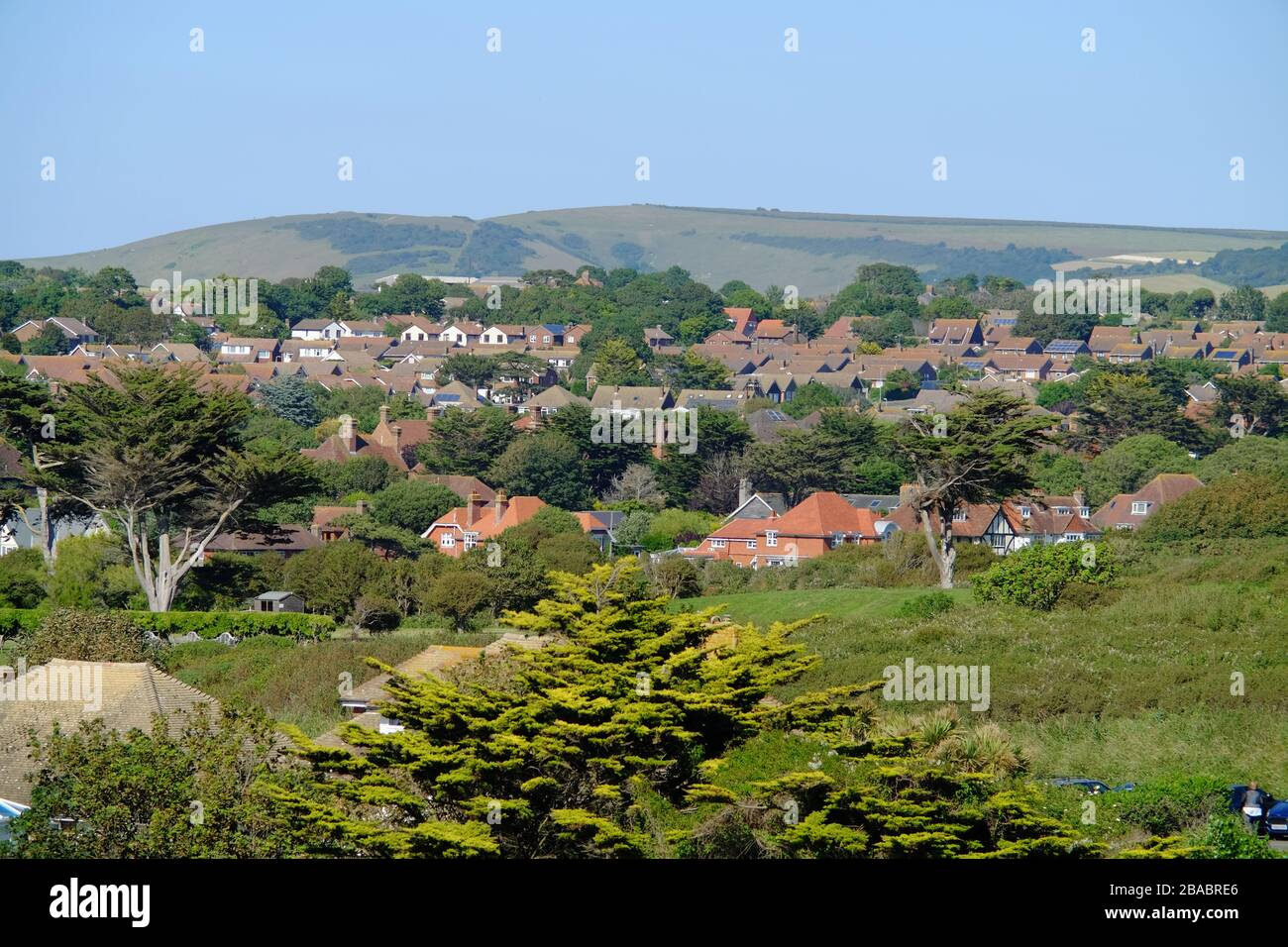 Housing stock in a small English town, Seaford, East Sussex, UK, nestled in the South Downs. Stock Photo