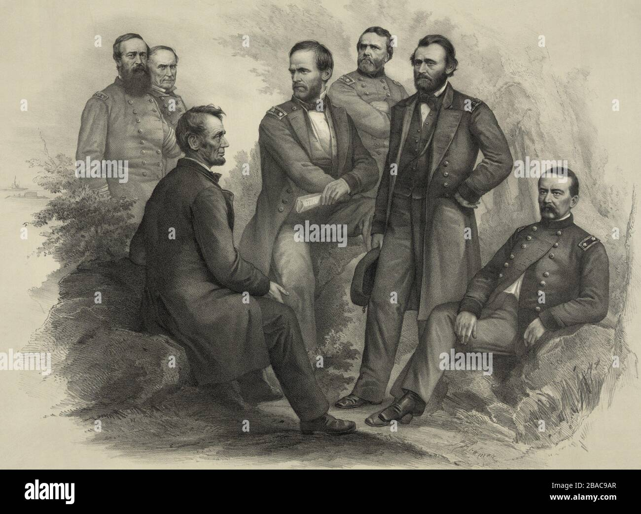 US Civil War. Imagined scene of President Abraham Lincoln sitting on a rock talking with his victorious commanders. From left: Adm. David Porter, Adm. David Farragut, President Abraham Lincoln, Gen. William Sherman, Gen. George Thomas, Gen. Ulysses Grant, and Gen. Philip Sheridan  (BSLOC_2018_10_55) Stock Photo
