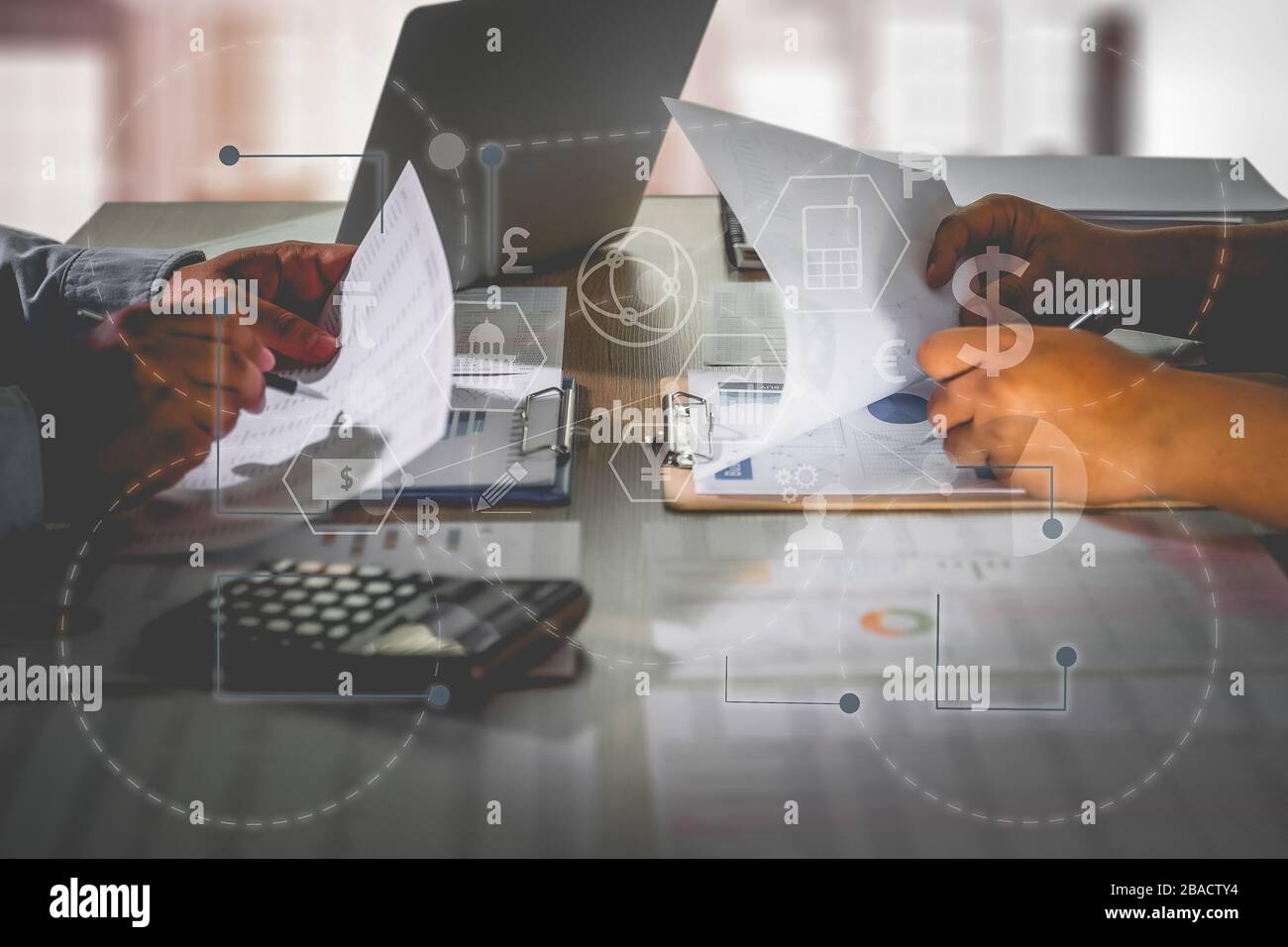 Financial report data of business technology digital Business Analytics Key Performance Stock Photo