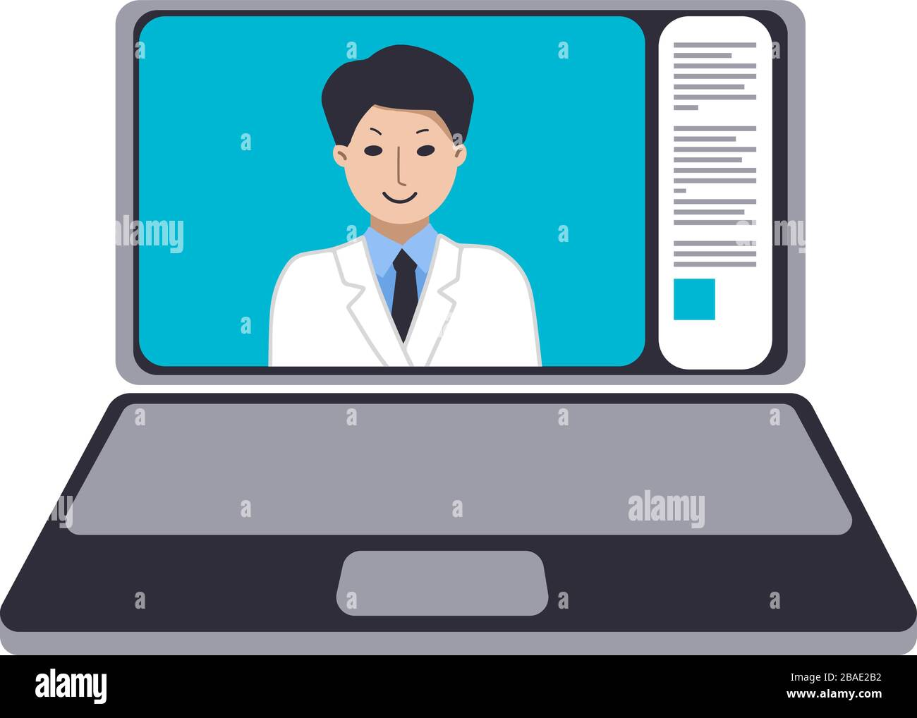 Doctor on laptop screen advises at home. Medicine on the Internet. Webinars, video conference Advice and training. Vector flat design illustration. Stock Vector