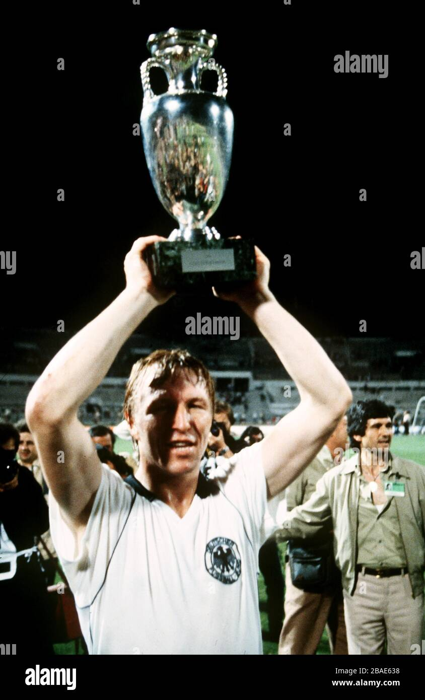 West Germany's Horst Hrubesch lifts the European Championship trophy Stock Photo