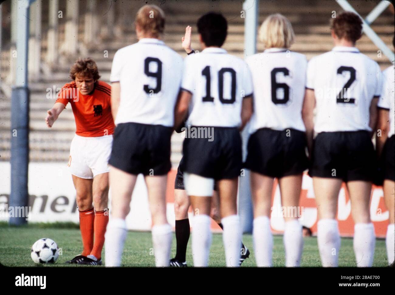 The West Germany wall wait as Holland's Arie Haan (l) lines up a free kick Stock Photo