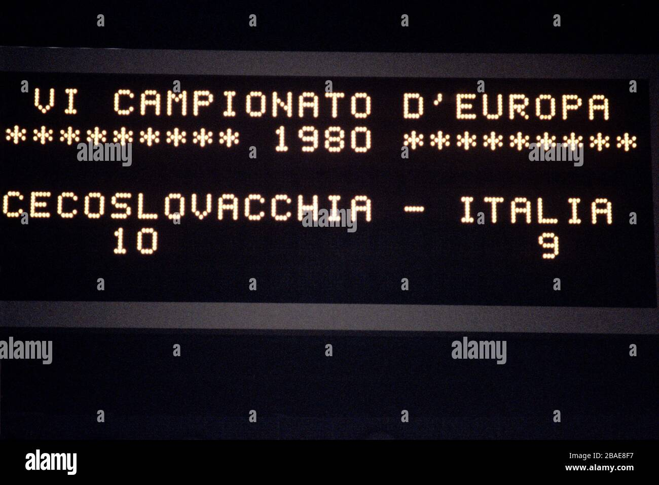 The scoreboard shows the final score after Czechoslovakia triumphed on penalties Stock Photo