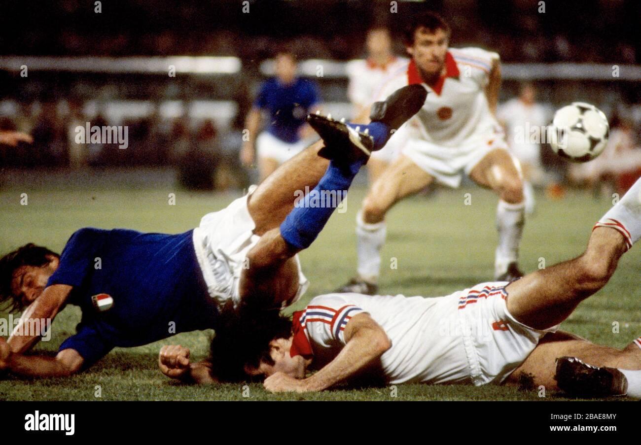 Action from Czechoslovakia v Italy Stock Photo