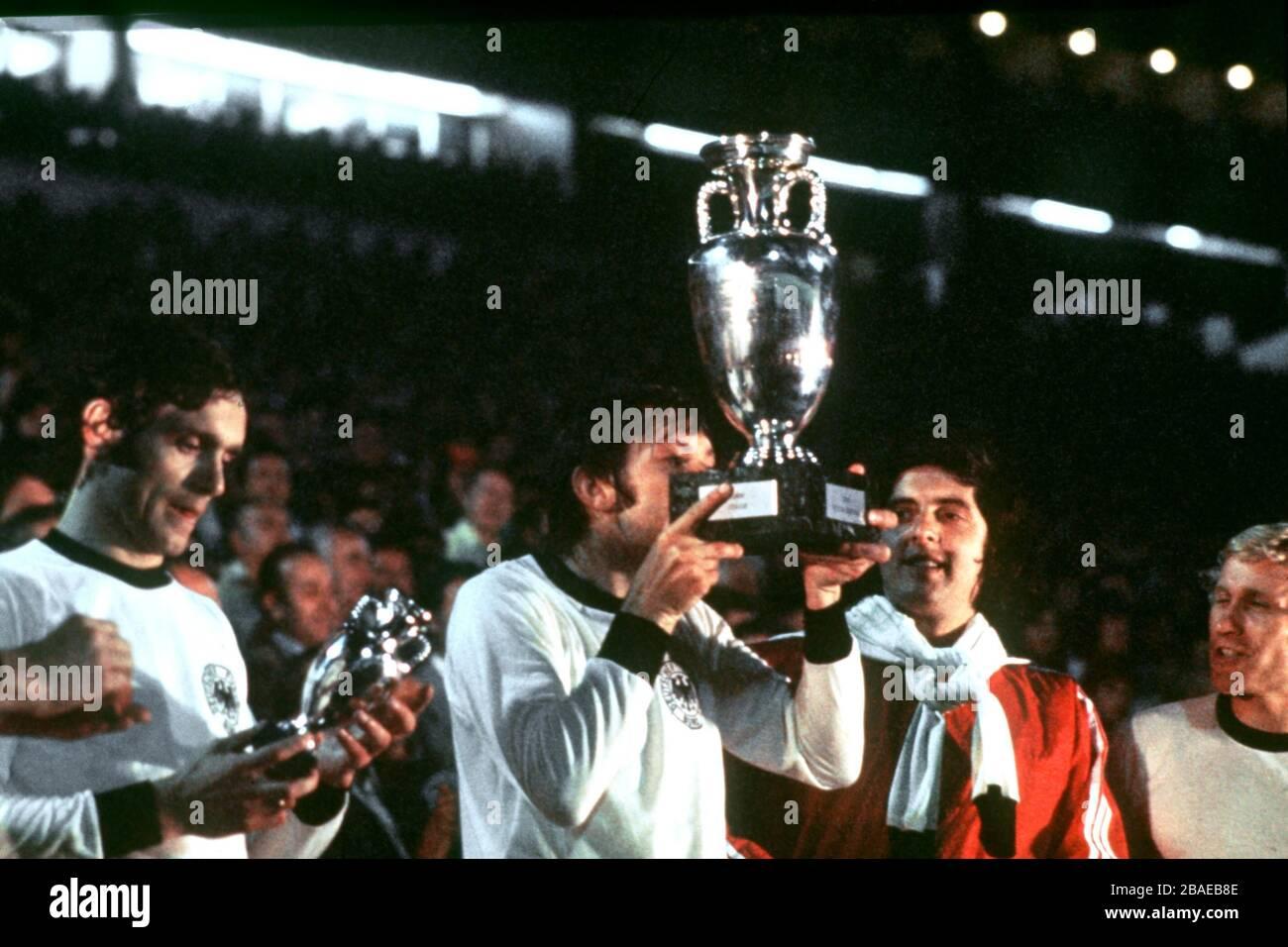 Czechoslovakia's Antonin Panenka, scorer of the winning penalty, kisses the trophy in celebration Stock Photo