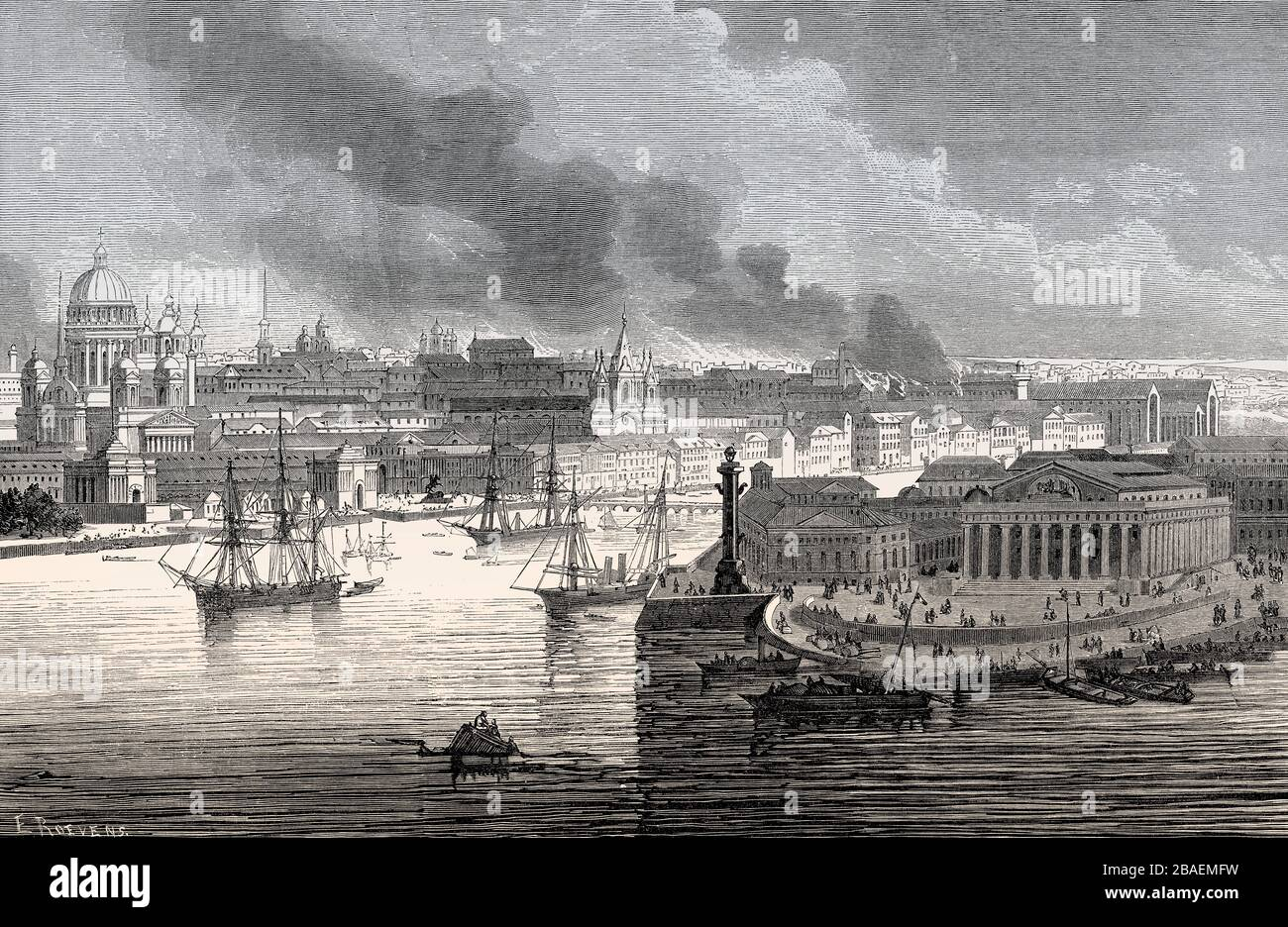 cityscape of Saint Petersburg, former Stock Exchange building, today Central Naval Museum, Russia, 19th century Stock Photo