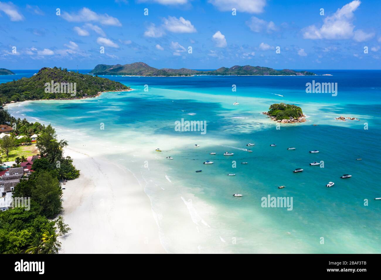 Anse Volbert aerial beach view Praslin Island Seychelles Stock Photo