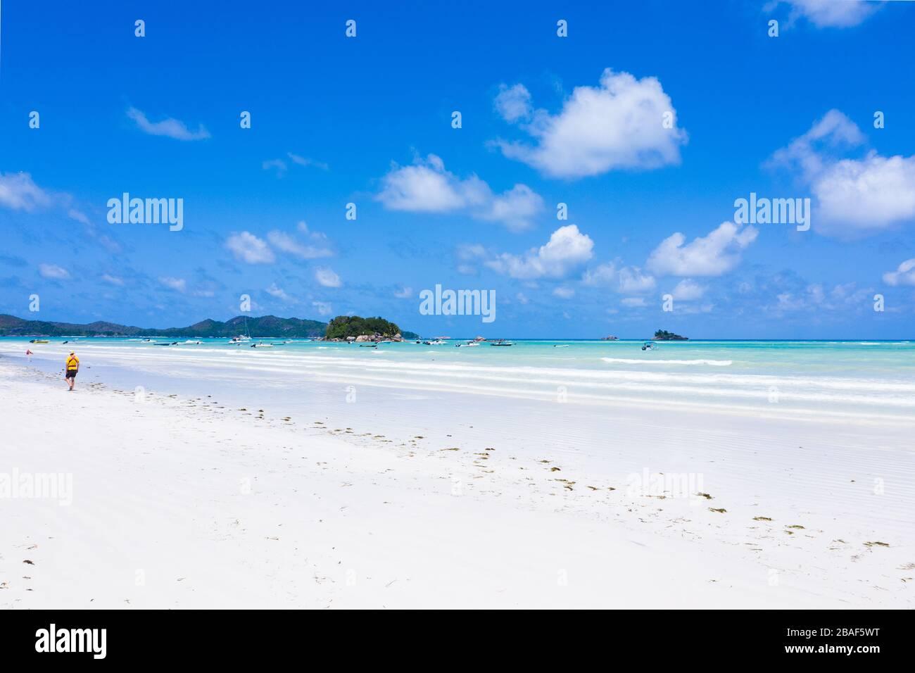 Anse Volbert aerial beach view Praslin Island Seychelles Stock Photo