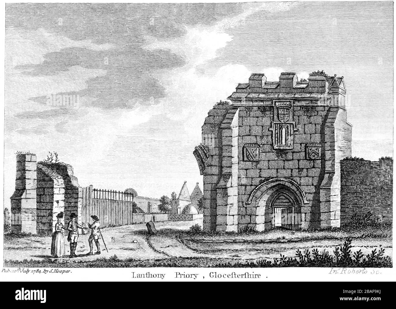 Engraving of Lanthony Priory 1784 (Llanthony Secunda Priory) Glocestershire (Gloucestershire) scanned at high res from a book published around 1786. Stock Photo