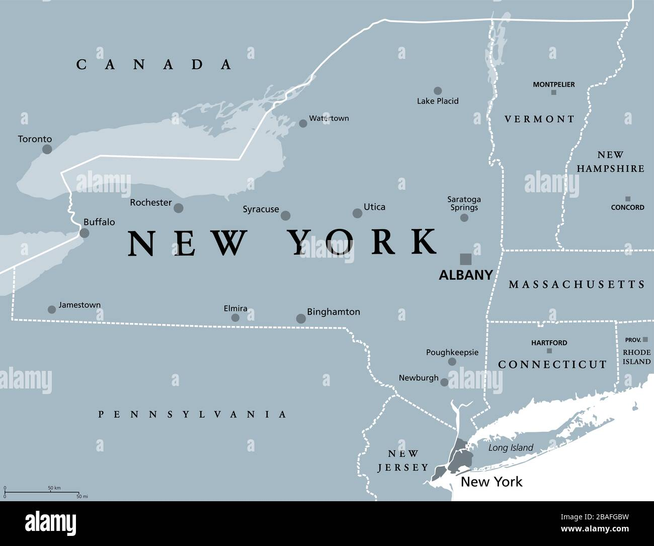 Cartina America New York.New York State Nys Gray Political Map With Capital Albany Borders And Important Cities State In Northeastern United States Of America Stock Photo Alamy