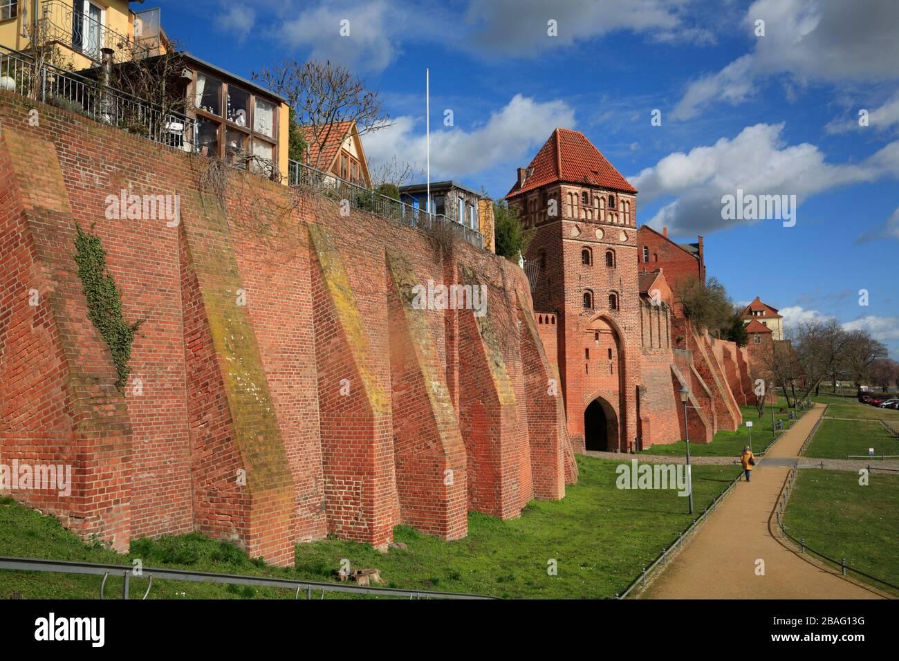 Old citywall with Rossfurt, Tangermuende,  Tangermünde, Altmark, Saxony-Anhalt, Germany, Europe Stock Photo