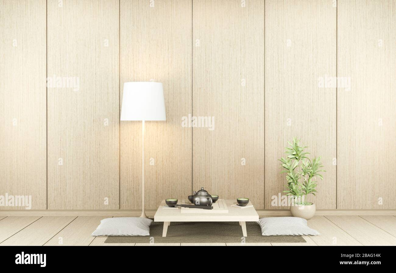 Empty Minimalist Modern Zen Living Room With Wood Floor And Decor Japanese Style 3d Rendering Stock Photo Alamy