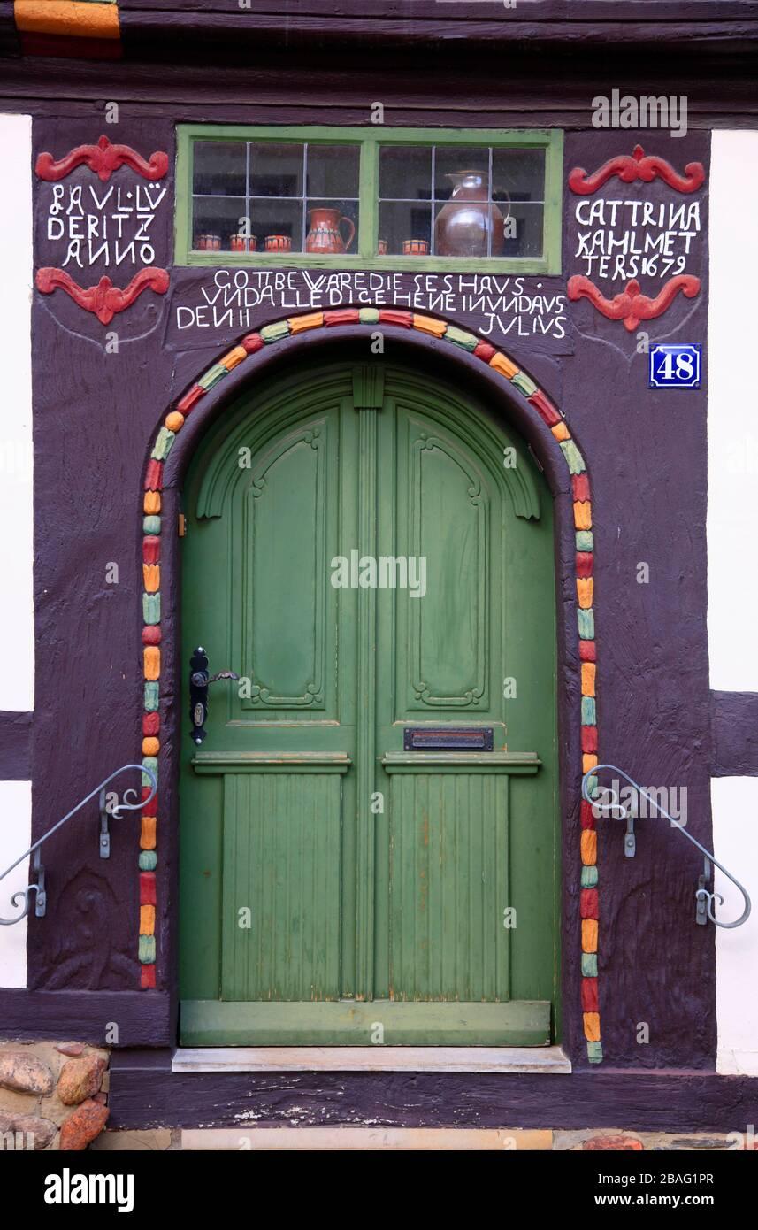 Old door in Tangermuende,  Tangermünde, Altmark, Saxony-Anhalt, Germany, Europe Stock Photo