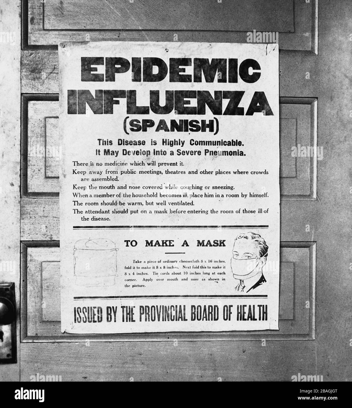 Spanish Flu poster. Poster issued by Alberta's Provincial Board of Health alerting the public to the 1918 influenza epidemic. The poster gives information on the Spanish flu and instructions on how to make a mask. Stock Photo