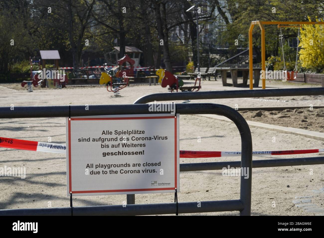 Closed Playgrounds in Frankfurt Germany due to Covid-19 Stock Photo