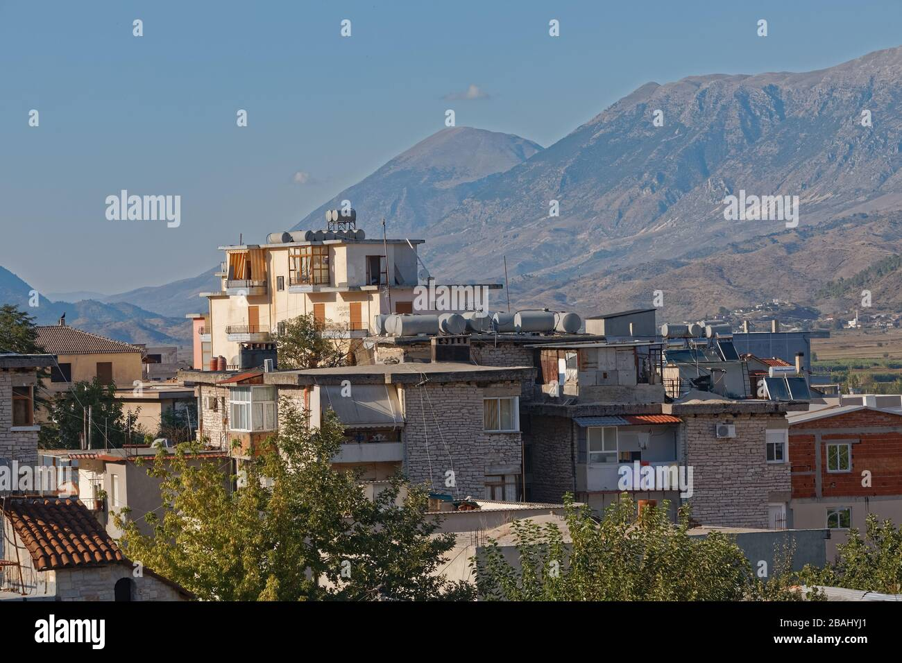 Newer houses in Gjirokaster town UNESCO World Heritage Albania Stock Photo
