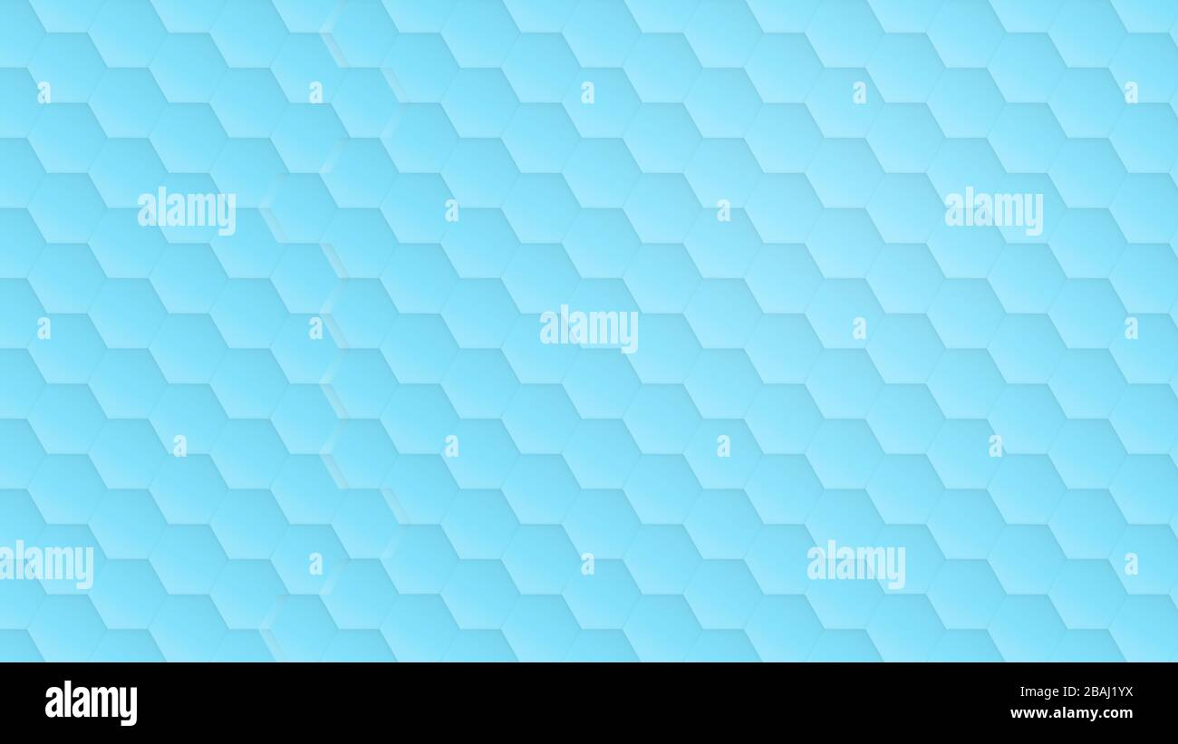 Transparent hexagon pattern on light blue and turquoise background. Simple abstract modern background in 4k resolution. Stock Photo