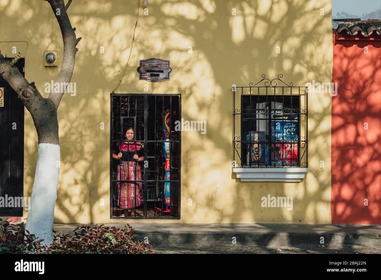 Empty streets as curfew begins in colonial Antigua Guatemala, a popular tourist destination, businesses closed due to coronavirus pandemic quarantine Stock Photo