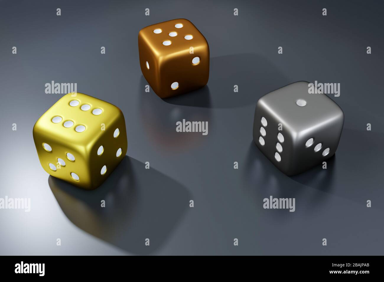 Poker Dice View Of Golden Silver And Bronze Dice Casino Dice On Grey Background Online Casino Dice Gambling Concept Isolated On Grey Stock Photo Alamy