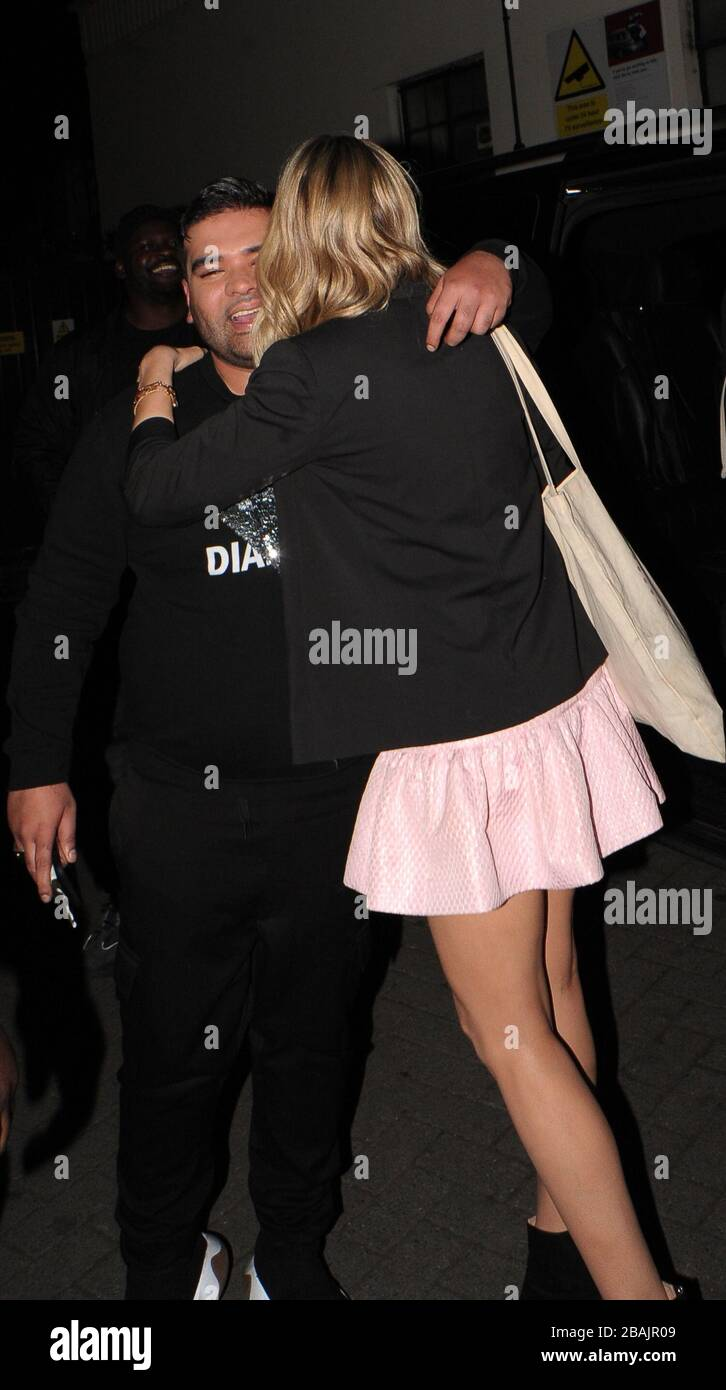 Laura Whitmore And Naughty Boy Leaving Britain S Got Talent Semi Final Day 2 At The Hammersmith Apollo Stock Photo Alamy
