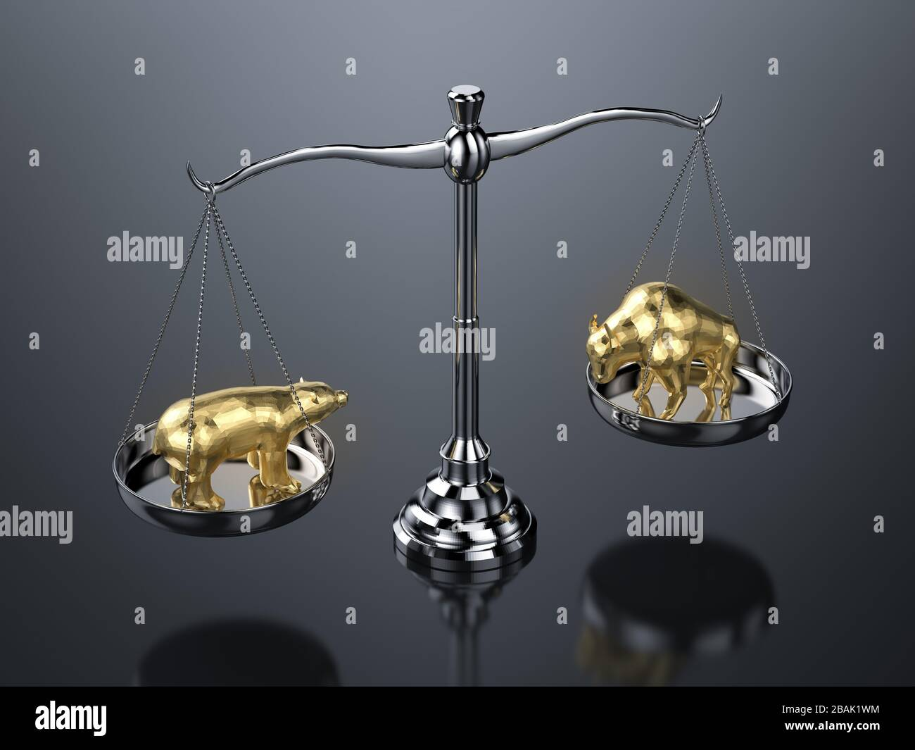 Bull and bear economy concept with 3d rendering bull and bear on scale weight Stock Photo