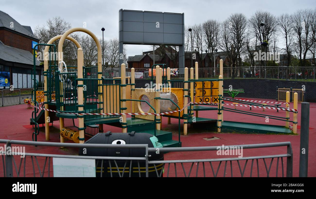 London, UK. 28th March 2020.  During the coronavirus in UK lockdown seen Children playground totally lockdown, at Walthamstow Square,on 28 March 2020 London. Credit: Picture Capital/Alamy Live News Credit: Picture Capital/Alamy Live News Stock Photo