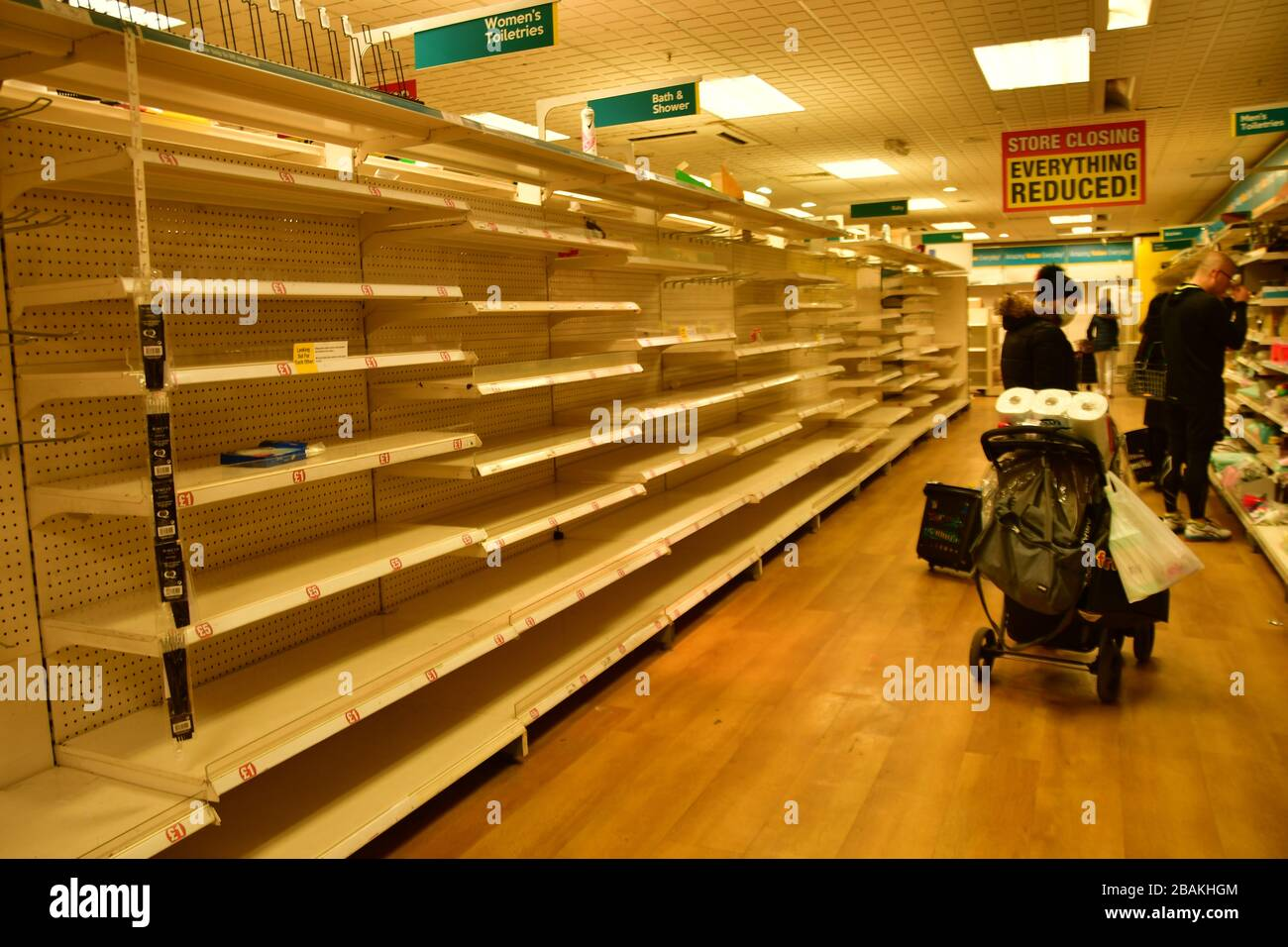 London, UK. 28th March 2020. During the coronavirus in UK lockdown seen people shopping in Poundland shelf empty, at Walthamstow Shopping mall,on 28 March 2020 London. Credit: Picture Capital/Alamy Live News Stock Photo