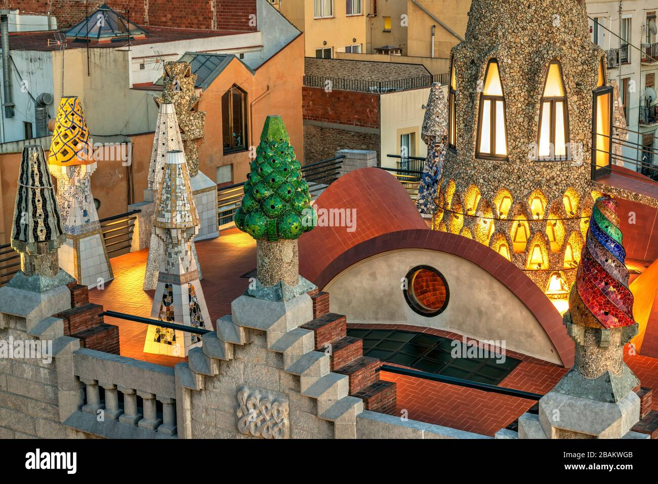 Rooftop terrace of Palau Guell mansion designed by architect Antoni Gaudi, Barcelona, Catalonia, Spain Stock Photo