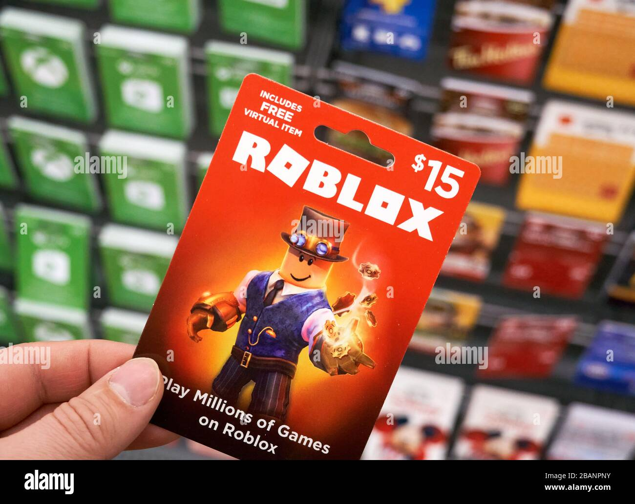 Montreal Canada March 22 2020 Roblox Gift Card In A Hand Over