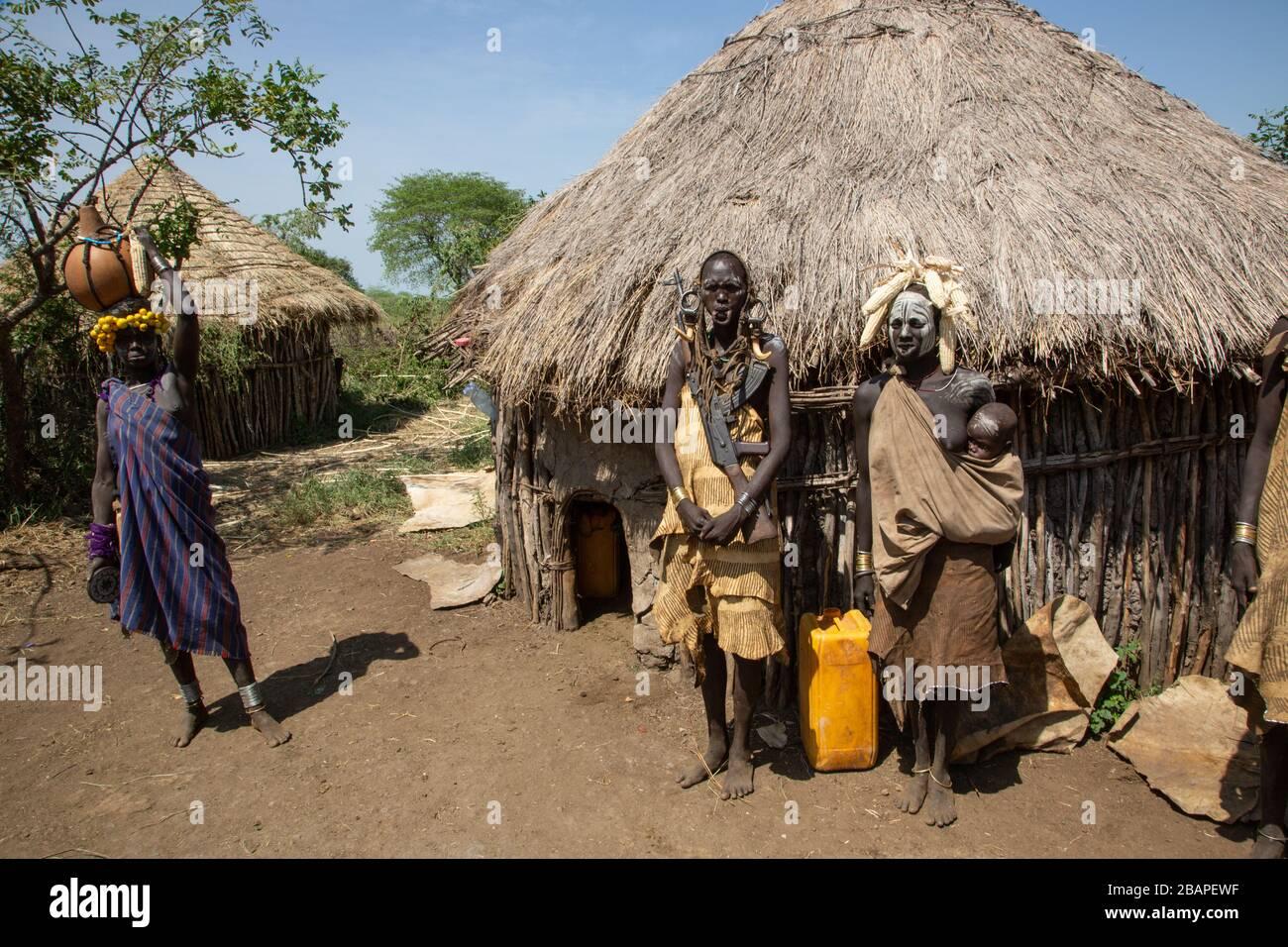 Mursi tribe village, Mago National Park, Omo Valley
