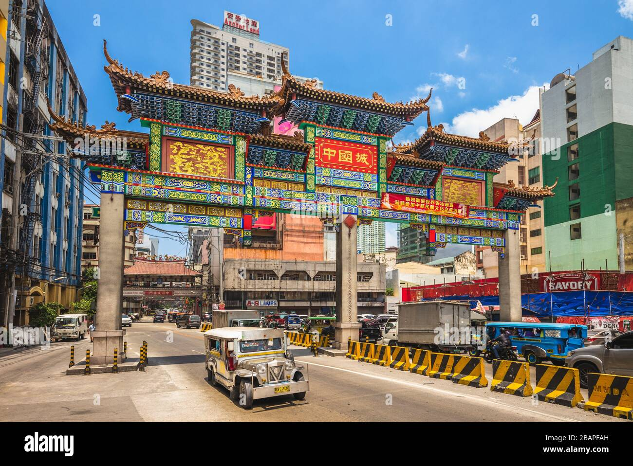 Manila, Philippines - April 8, 2019: the largest chinatown arch of the world in manila, which was inaugurated on June 23, 2015. Stock Photo