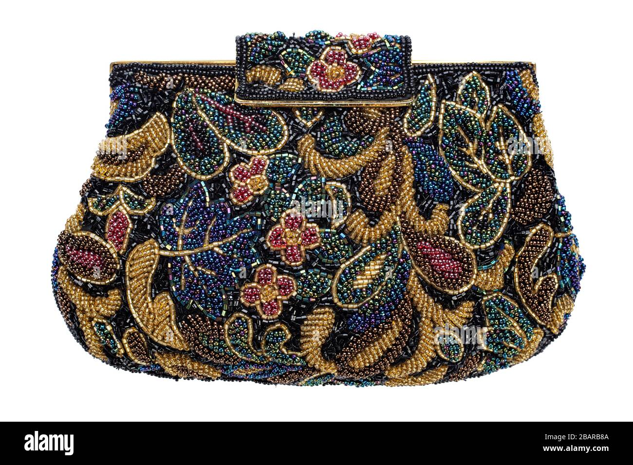 Iridescent Glass Beaded Ladies Bag Unique Ladies Bag with Beads Retro Black Womens Bag Embroidered Ladies Bag with Florals Motivs