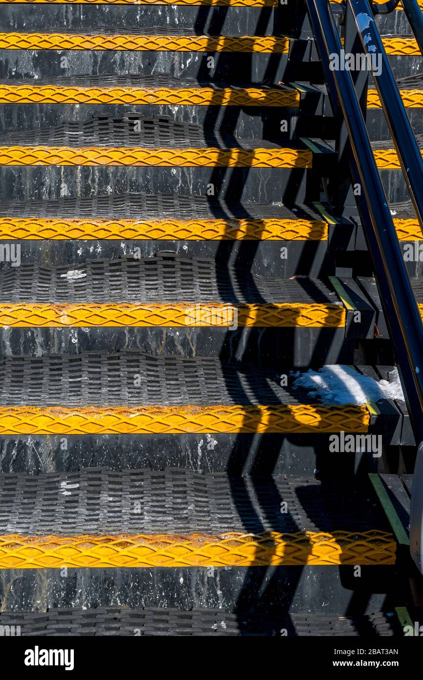 Black and yellow rubber steps Stock Photo