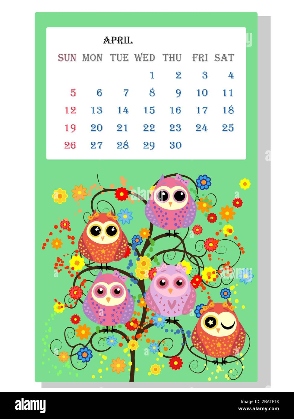 Calendar 2021. Cute owls and birds for every month Stock Vector