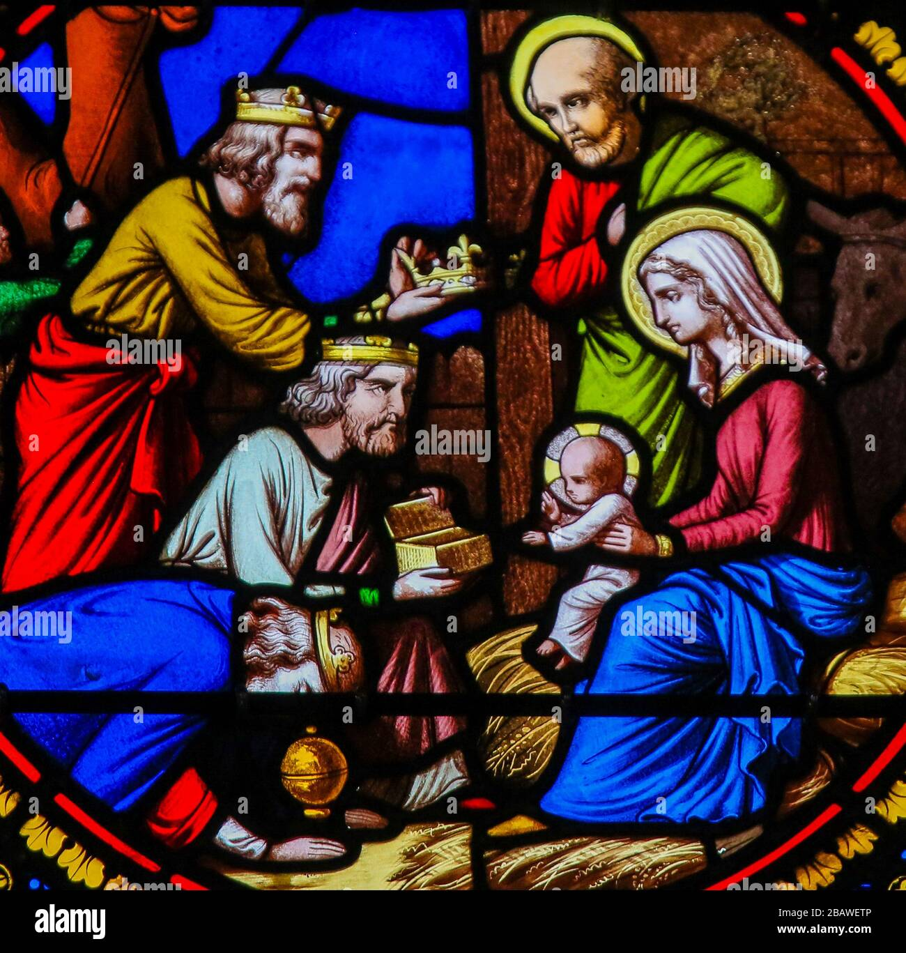 Saint-Adresse, France - August 15, 2019: Stained Glass in the Chapel of Notre-Dame-des-flots (1857) in Sainte Adresse, Le Havre, France, depicting the Stock Photo