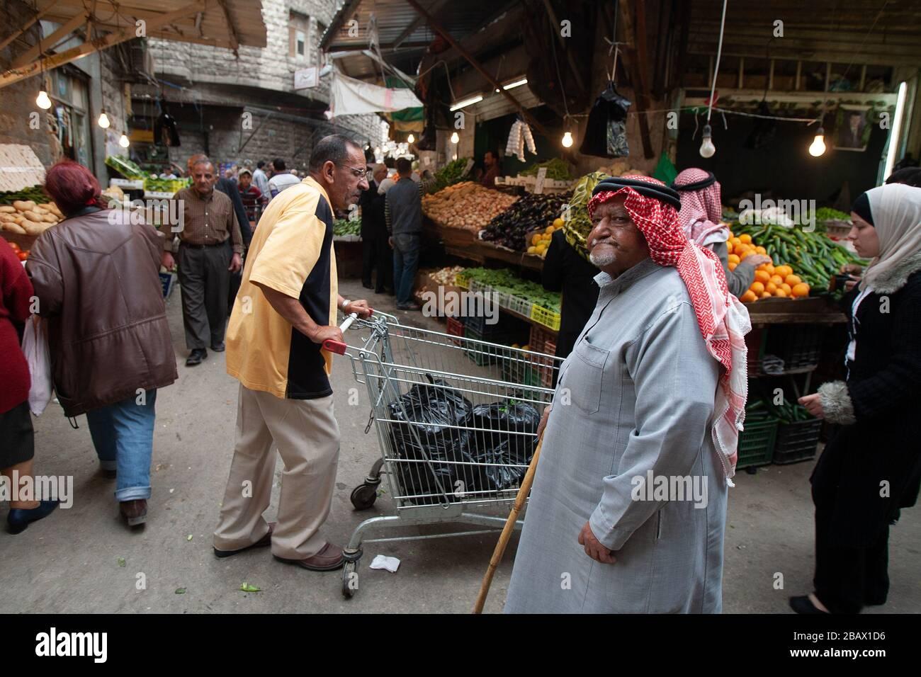 Amman, Jordan, May 3, 2009: A busy street market in dowtown Amman, Jordan. Stock Photo