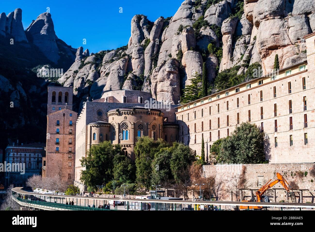 Mountain and basilica of Montserrat, Barcelona, Catalonia, Spain. Stock Photo