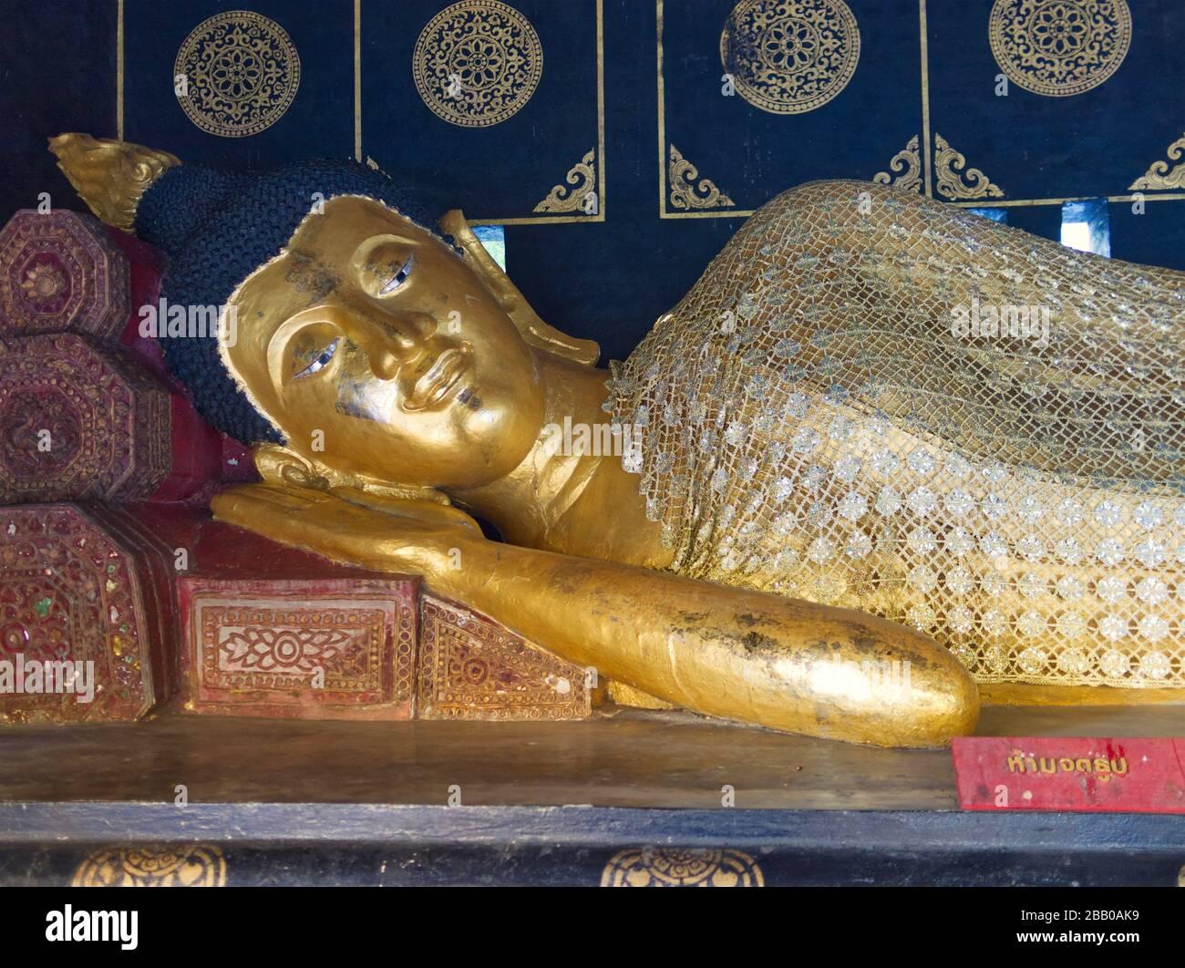 reclining Buddah, Wat Phra Singh, Chiang Mai, Thailand. Stock Photo