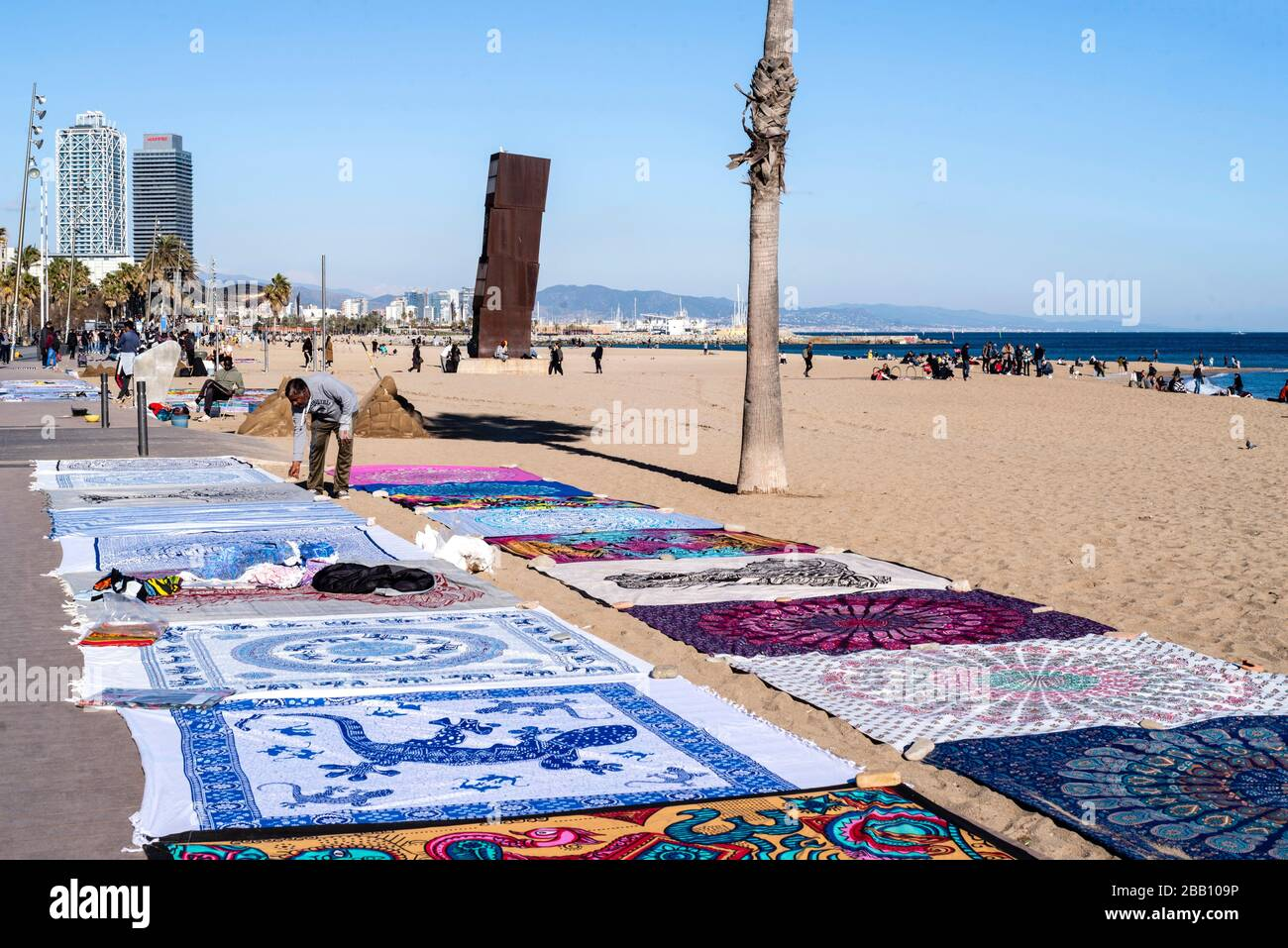 Barceloneta beache, Barcelona, Catalonia, Spain. Stock Photo