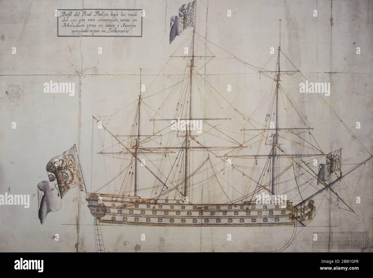 Real San Felipe ship profile. 18th Century spanish naval warship. Stock Photo