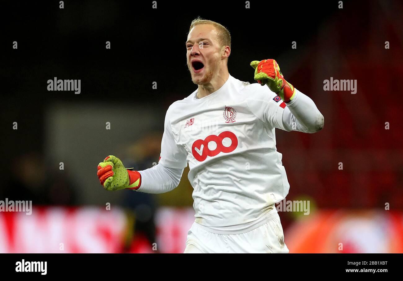 Standard Liege Goalkeeper Arnaud Bodart Celebrates His Side s Second Goal Stock Photo Alamy