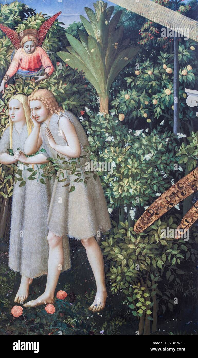 Adam and Eve being expelled from Paradise detail. The Annunciation of Fra Angelico. Museo del Prado, Madrid. Stock Photo