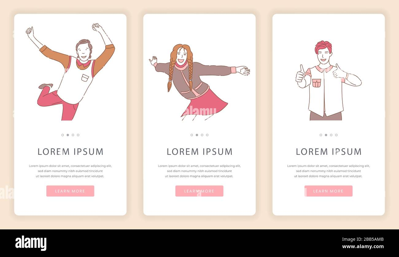 Happy Enjoying People Mobile App Screens With Text Space Men And Women Dancing Showing Thumbs Up Standing With Open Arms For Hug Vector Cartoon Illustration Good Mood Holidays Website Template Stock Vector