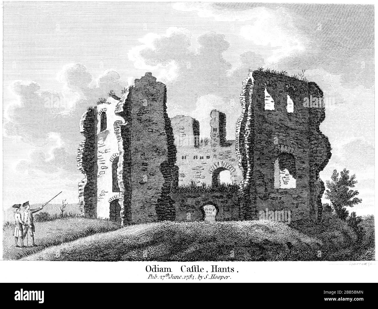 An engraving of Odiam (Odiham) Castle Hants 1784 scanned at high resolution from a book published around 1786. Believed copyright free. Stock Photo