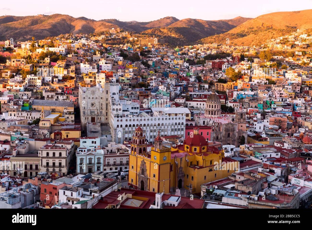Mexico, Guanajuato skyline as viewed from Monumento a El Pïpila. Guanajuato, a UNESCO world heritage site Stock Photo
