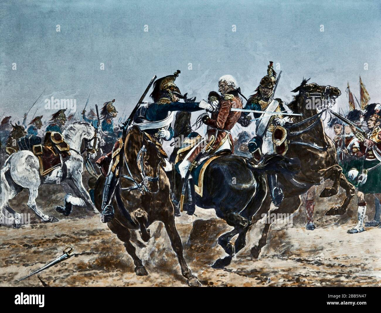 Animation illustrations of English and French military campaigns and war settings circa 1800 to include the French Revolution and Napoleonic wars.  These illustrations were created circa 1900 Stock Photo